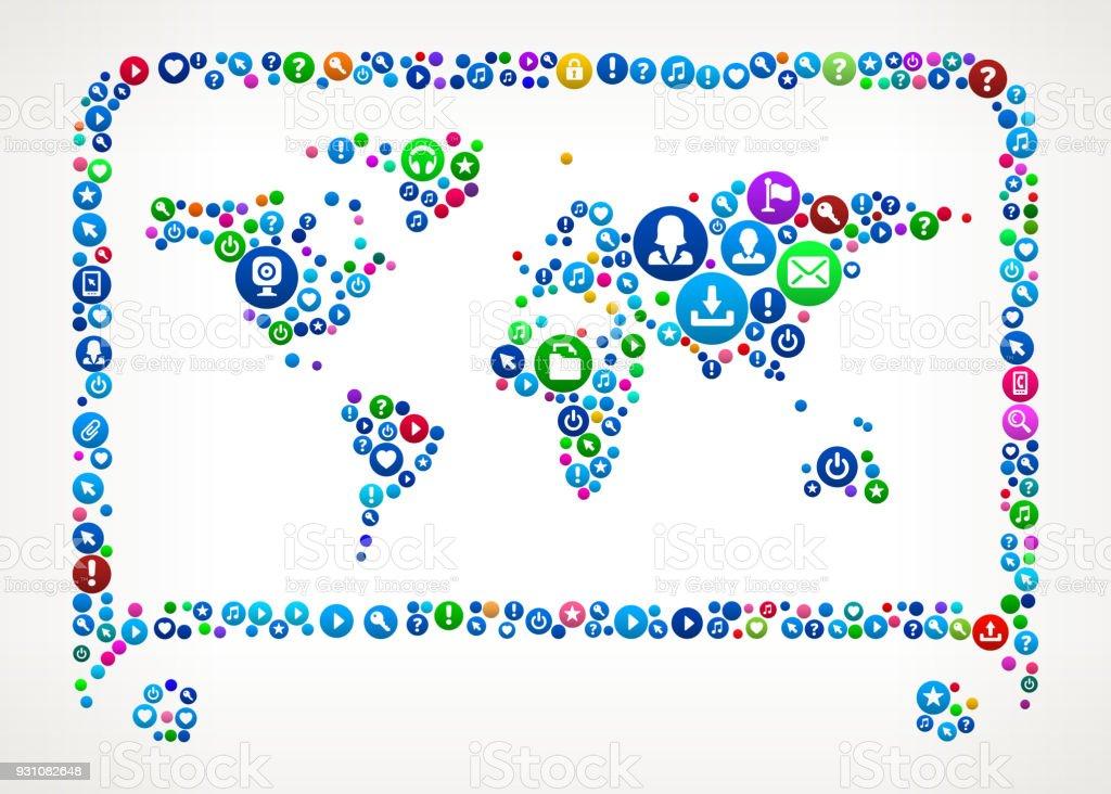 World Map Internet Communication Technology Icon Pattern vector art illustration