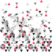 World Map isolated on an abstract geometric background. Modern background with gray and red triangles. Template for your design. With space for your text and your background. The layers are named to facilitate your customization. Vector Illustration (EPS10, well layered and grouped). Easy to edit, manipulate, resize or colorize. Please do not hesitate to contact me if you have any questions, or need to customise the illustration. http://www.istockphoto.com/portfolio/bgblue