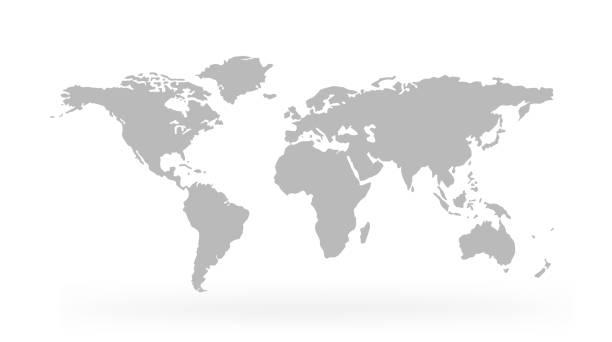 mapa świata odizolowane na białym tle - wektor akcji. - mapa świata stock illustrations