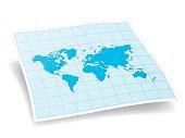 World Map isolated on white background.