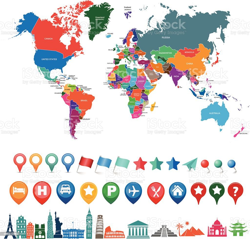 world map kit with landmarks and gps icons vector art illustration
