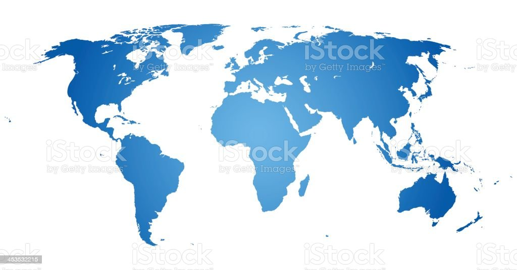 World Map Laid Flat With Countries In Blue Stock Vector Art - Flat map of the world with countries