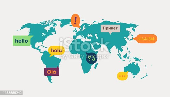 World map translation information communication messages.