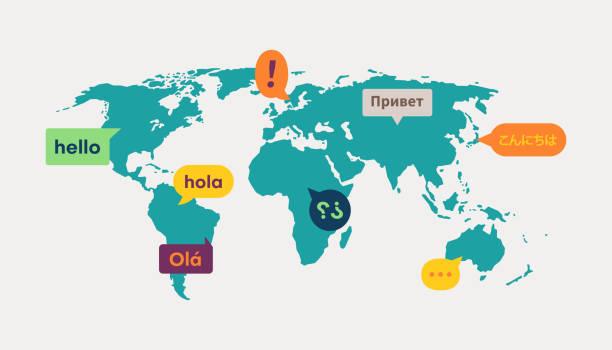komunikacja tłumaczenia języka na mapie świata - globalny stock illustrations