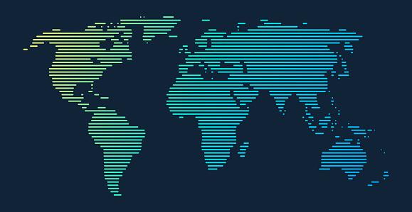 World Map Lines Gradient