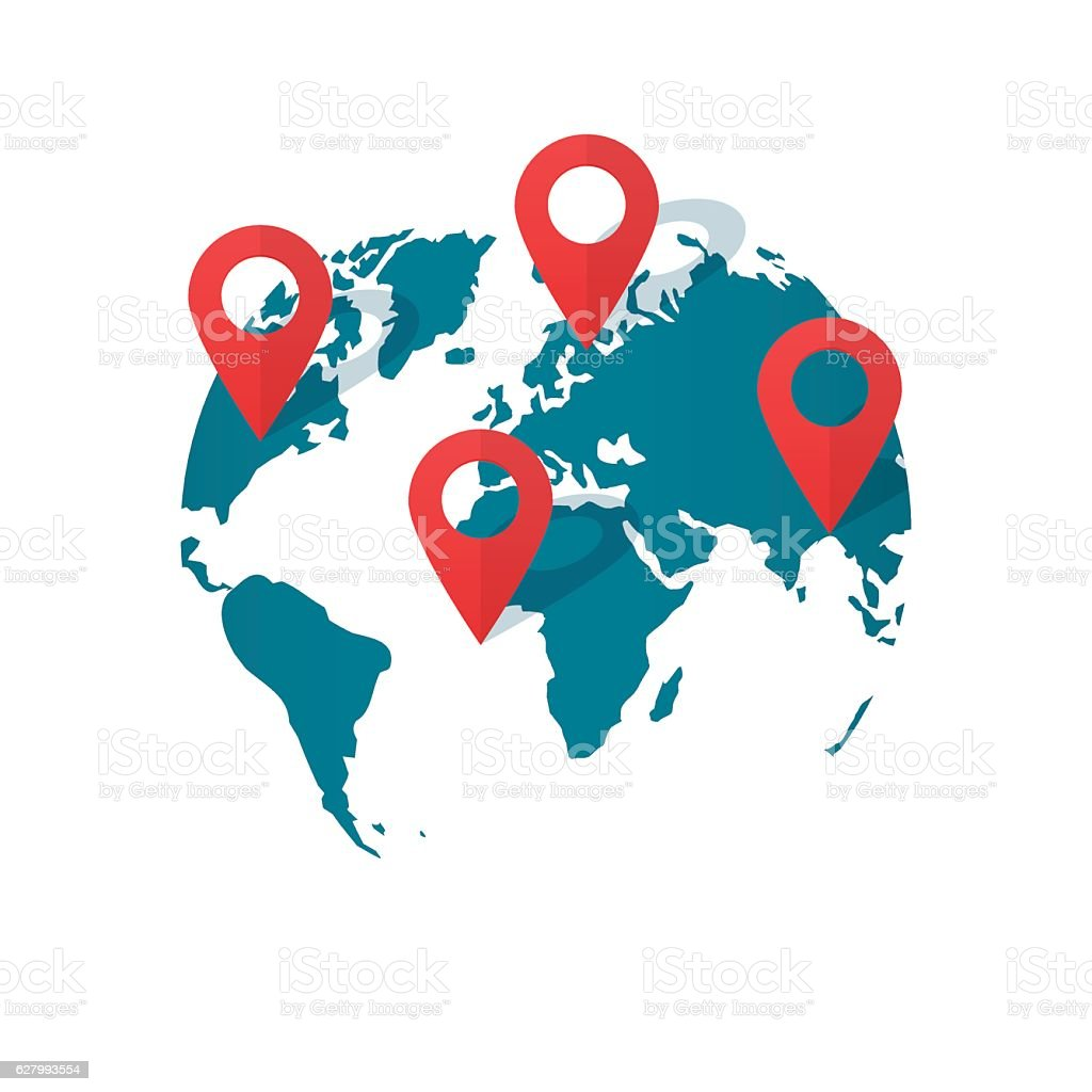 World map location pins vector global gps transportation geo pointer world map location pins vector global gps transportation geo pointer royalty free world map gumiabroncs Image collections