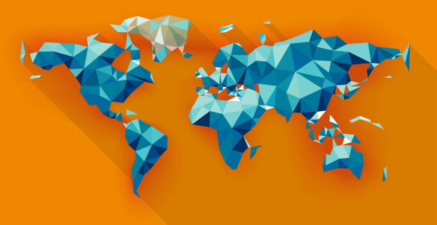 world map low poly - world map stock illustrations, clip art, cartoons, & icons