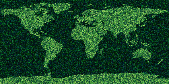World map made form leaves and grass