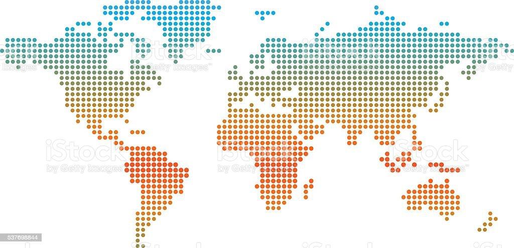 Ilustración de Mapa Del Mundo Colorido Puntos De Que El Indicador De ...