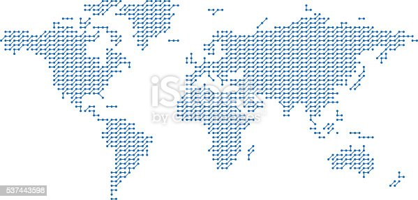 World map made from dots and lines creating a network pattern. Digital world and global communications concept.