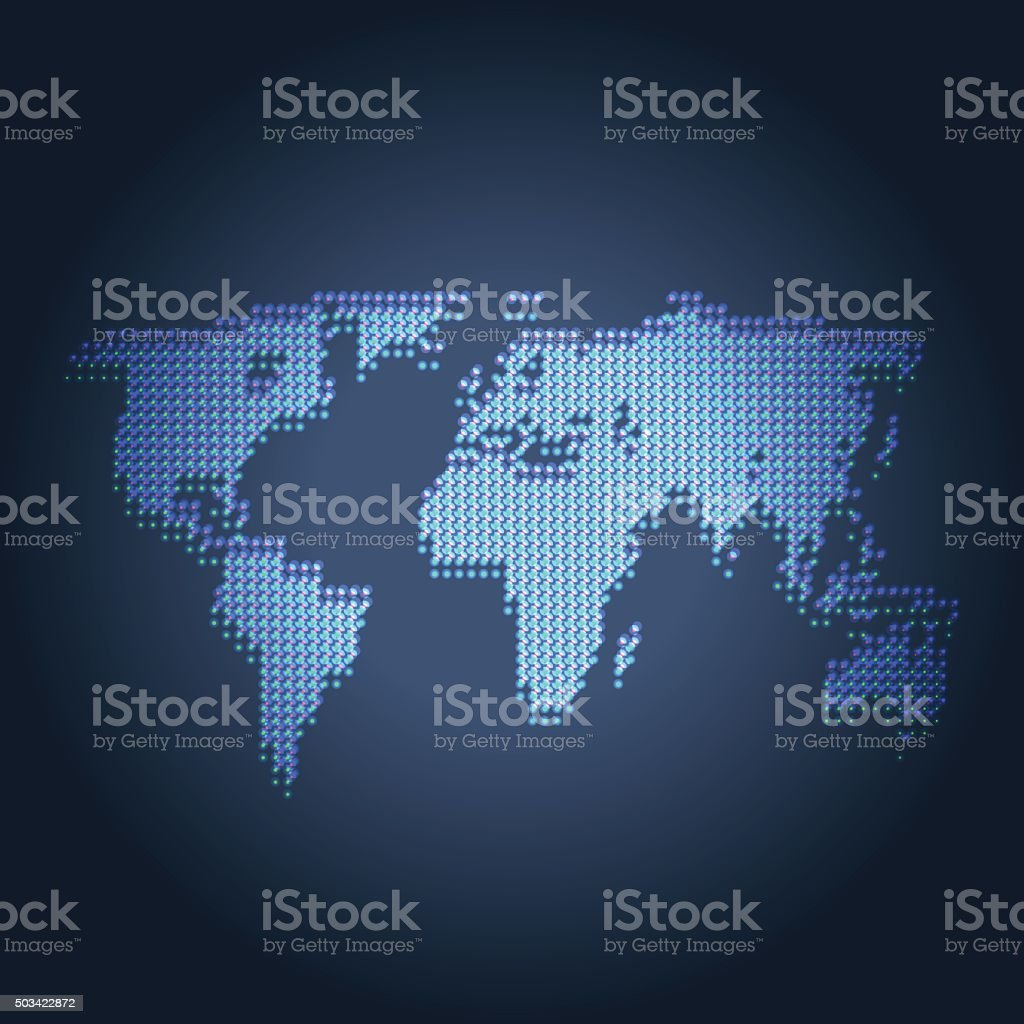 World map made of dots on blue background stock vector art more world map made of dots on blue background royalty free world map made of dots gumiabroncs Choice Image