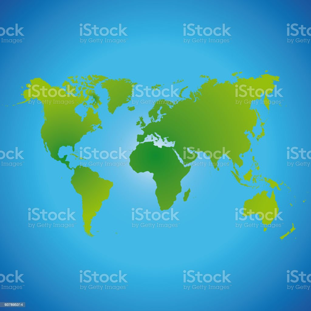 World map made of green color on a blue background stock vector art world map made of green color on a blue background royalty free world map made gumiabroncs