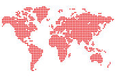 Point detailed world map made of hearts. Original abstract vector illustration for your design.
