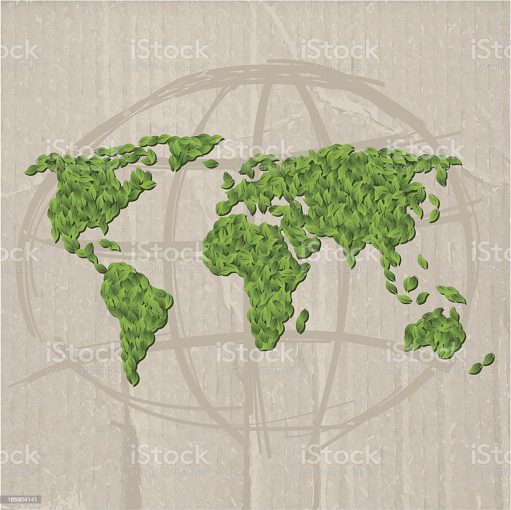 World Map Made Of Leaves Stock Vector Art More Images Of
