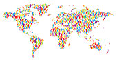 Vector of World Map Made of Multicolored Stickman Figures