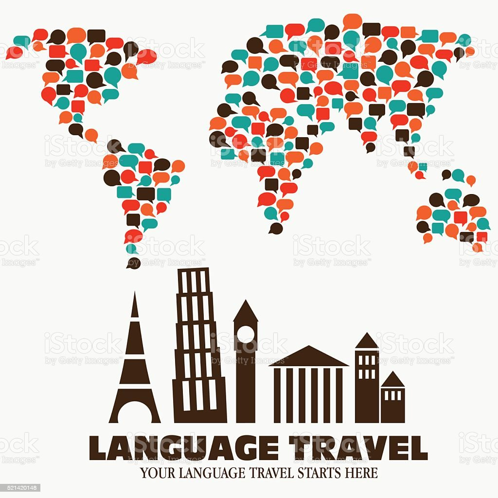World map made of speech bubbles and diversity famous monuments vector art illustration