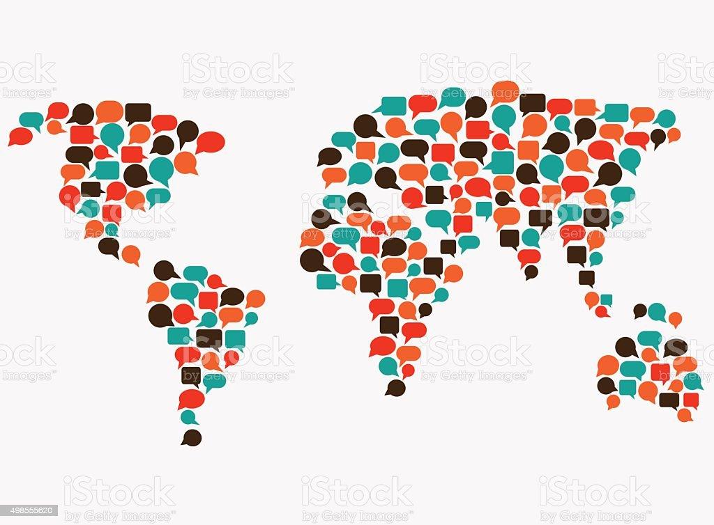 Mapa mundial hecho de discurso burbujas. Aplicación, interpretación del concepto de comunicación - ilustración de arte vectorial