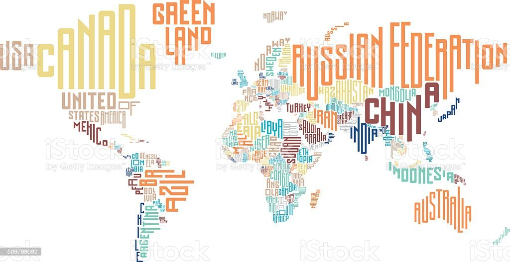 World Map Made Of Typographic Country Names stock vector art