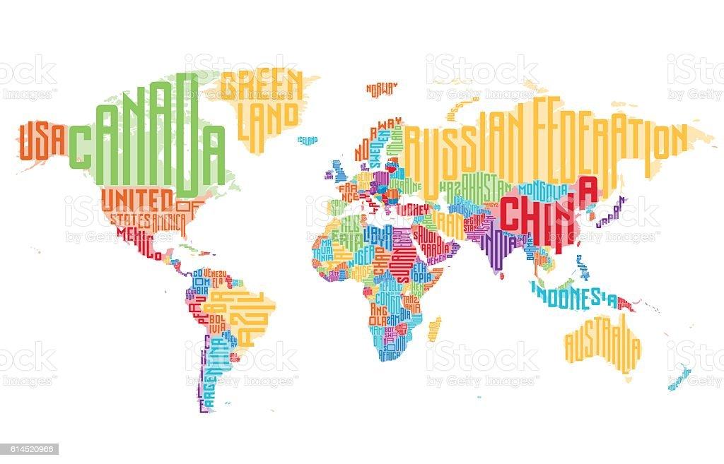 Ilustración de Mapa Mundial Hecho De Tipográfico Country Names y ...