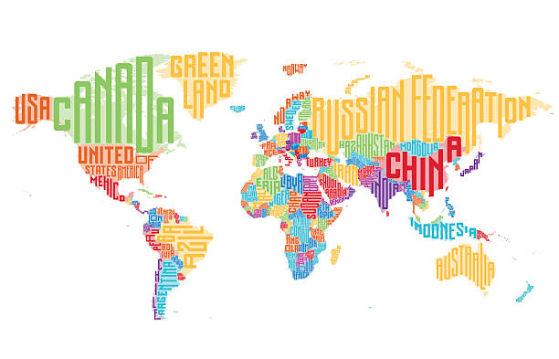 World map made of typographic country names vector art illustration