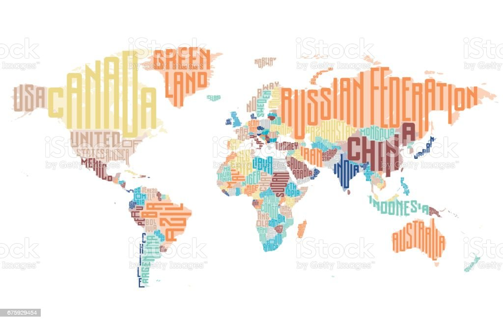 World Map Made Of Typographic Country Names Stock ...
