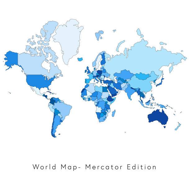 Royalty free mercator world map clip art vector images world map mercator edition vector art illustration sciox Choice Image