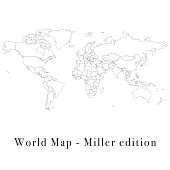 Vector illustration of a miller world map.