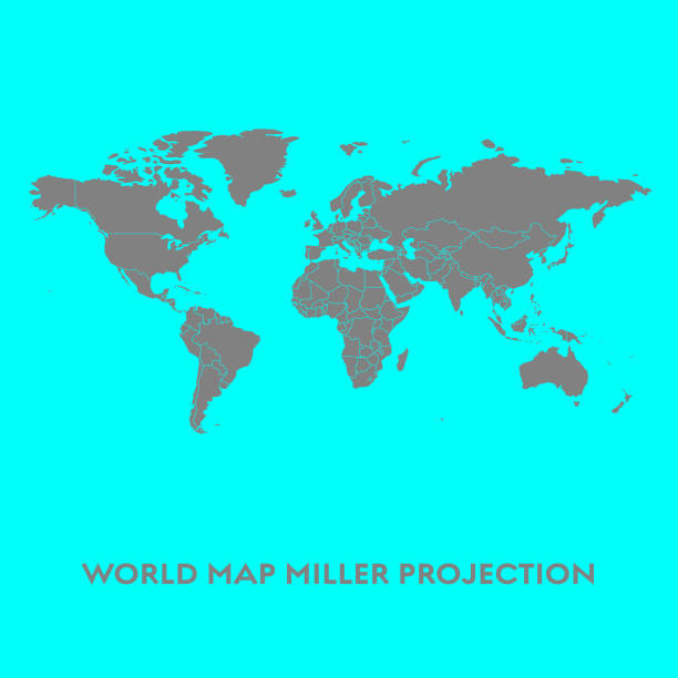 world map miller projection - world map stock illustrations, clip art, cartoons, & icons