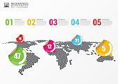 World map. Modern infographic template. Vector illustration.