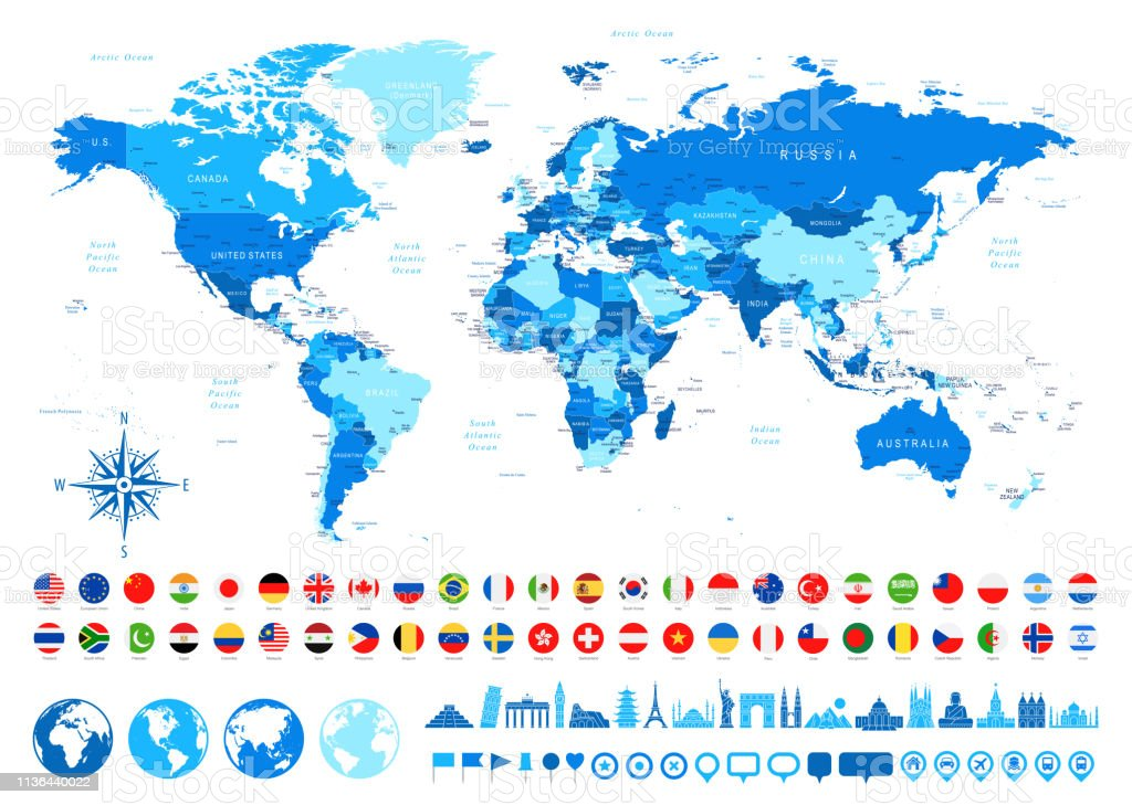 Map Of Africa And Surrounding Countries.World Map Most Popular Flags Travel Icons Borders Countries And