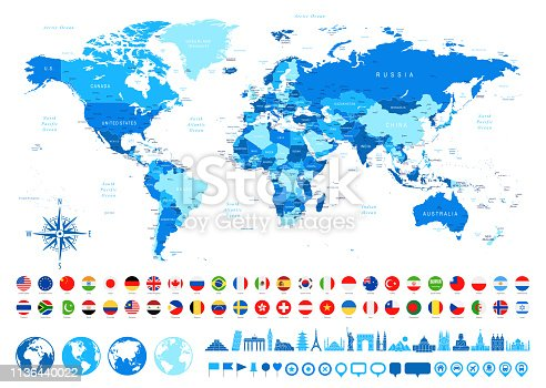 istock World Map, Most Popular Flags, Travel Icons - borders, countries and cities - vector illustration 1136440022
