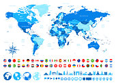 World Map, Most Popular Flags, Travel Icons - borders, countries and cities - vector illustration