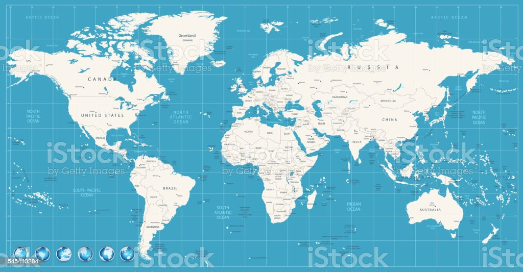 World Map Navy Blue Colors And Glossy Style Globes Stock Vector Art