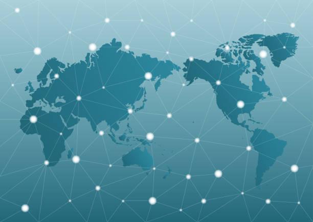 世界地図ネットワークとビジネス イメージ。ベクトルイラスト。 - 地球 日本点のイラスト素材/クリップアート素材/マンガ素材/アイコン素材