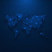 Map of World created with a mesh of thin bright blue lines and glowing dots, isolated on a dark blue background. Conceptual illustration of networks (communication, social, internet, ...). Vector Illustration (EPS10, well layered and grouped). Easy to edit, manipulate, resize or colorize.