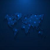 istock World map network - Bright mesh on dark blue background 1235392228