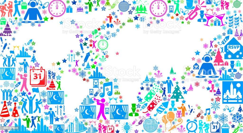 Ilustración de Mundo Mapa Año Nuevo 2018 Celebración Vector Icono ...