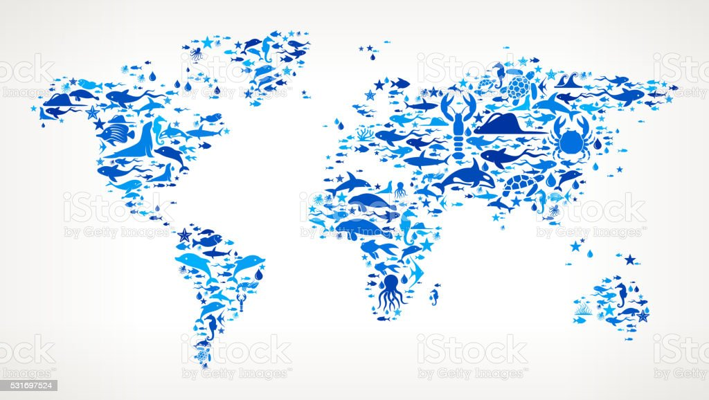 World map ocean and marine life blue icon pattern stock vector art world map ocean and marine life blue icon pattern royalty free world map ocean and gumiabroncs Images
