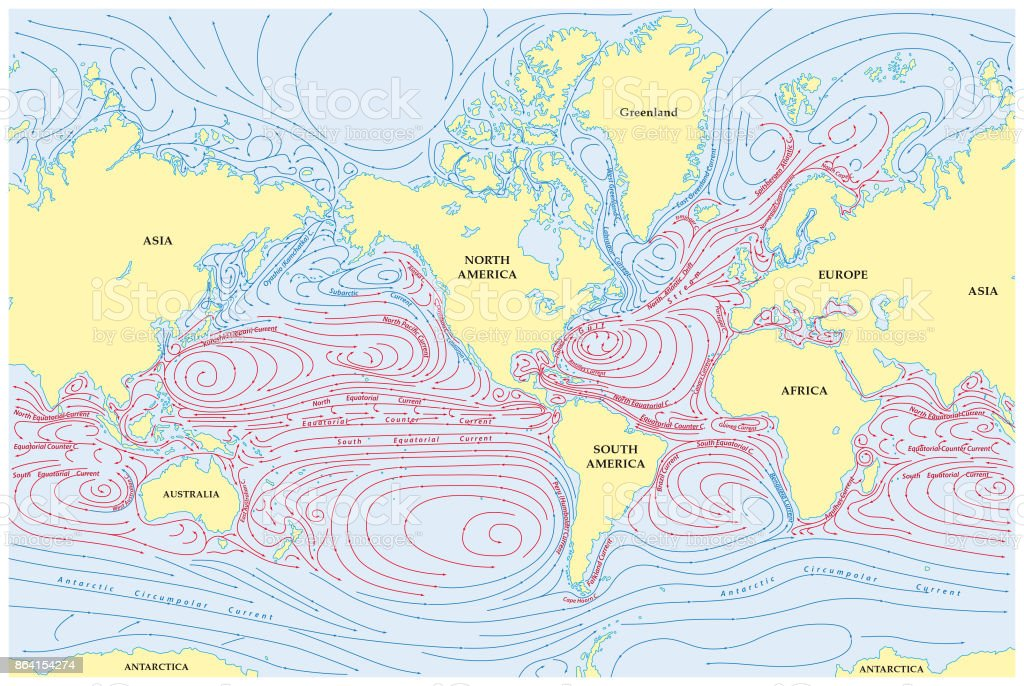 World map of all sea currents vector art illustration