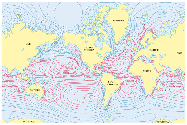world map of all sea currents - antarctica maps stock illustrations, clip art, cartoons, & icons