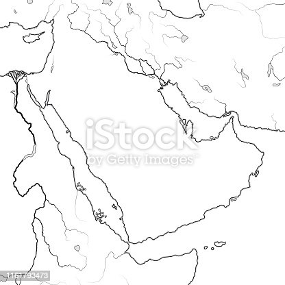 World Map of ARABIAN PENINSULA: The Middle East, Arab World, Saudi Arabia, Iraq, Syria, Mesopotamia, Persia, The Emirates, Persian Gulf, Red Sea, Indian Ocean. Geographic chart with sea coastline.