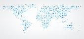 Communication world map of blue dots background. Vector paper illustration.