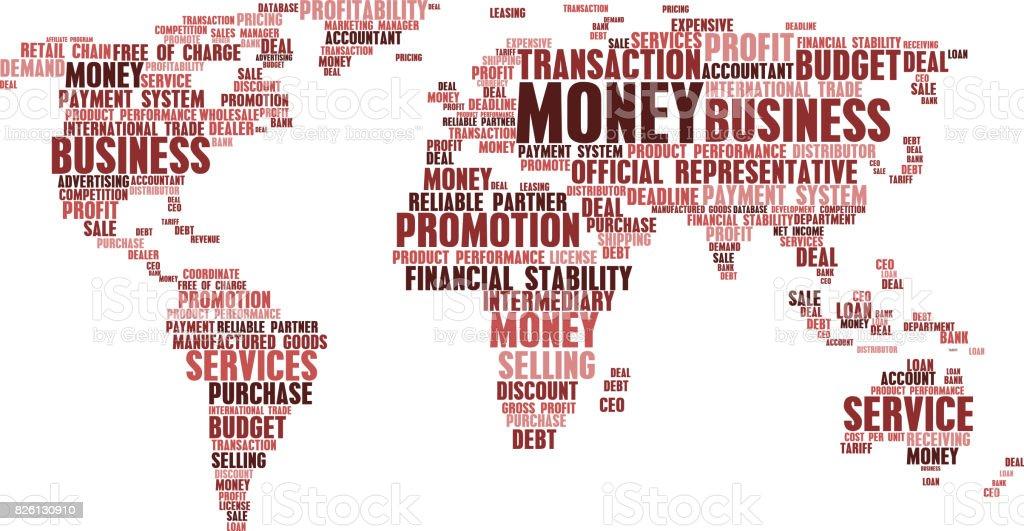 ビジネス単語雲の札の世界地図 イギリスのベクターアート素材や画像を