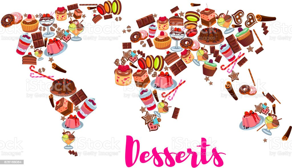 World Map Of Cake Cupcake Donut Candy Desserts Stock ... on mint world map, britannia world map, palm world map, coins world map, lego world map, cheese world map, gourmet world map, spooky world map, city lights world map, bunny world map, plants world map, seasonal world map, capri world map, meat world map, bamboo world map, abstract world map, apple world map, water drop world map, new years world map, beans world map,