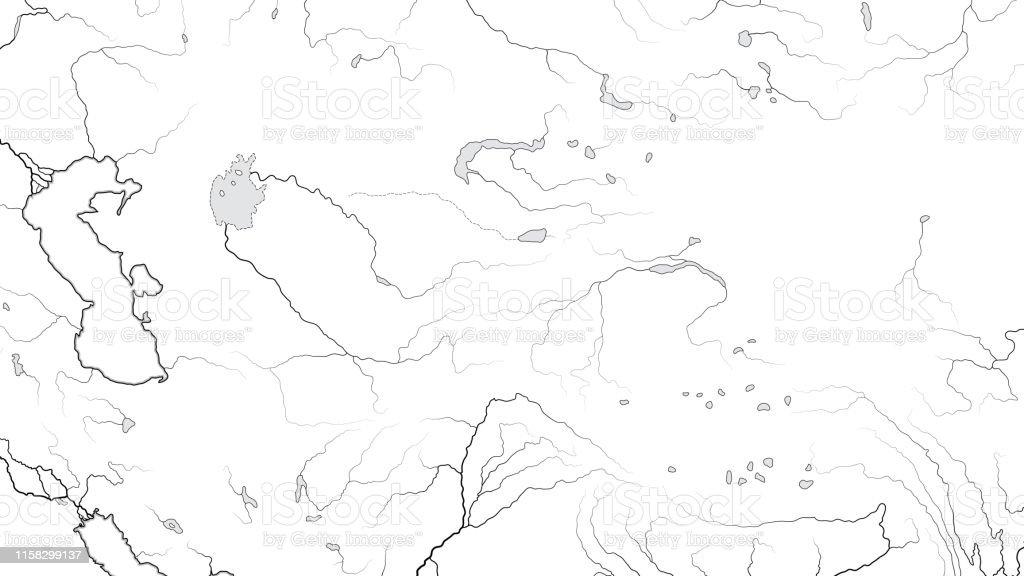 Picture of: World Map Of Central Asia Region Kazakhstan Turkmenistan Uzbekistan Turkestan Afghanistan Caspian Sea Karakum Desert Altai Mountains Geographic Chart With Landscape Stock Illustration Download Image Now Istock