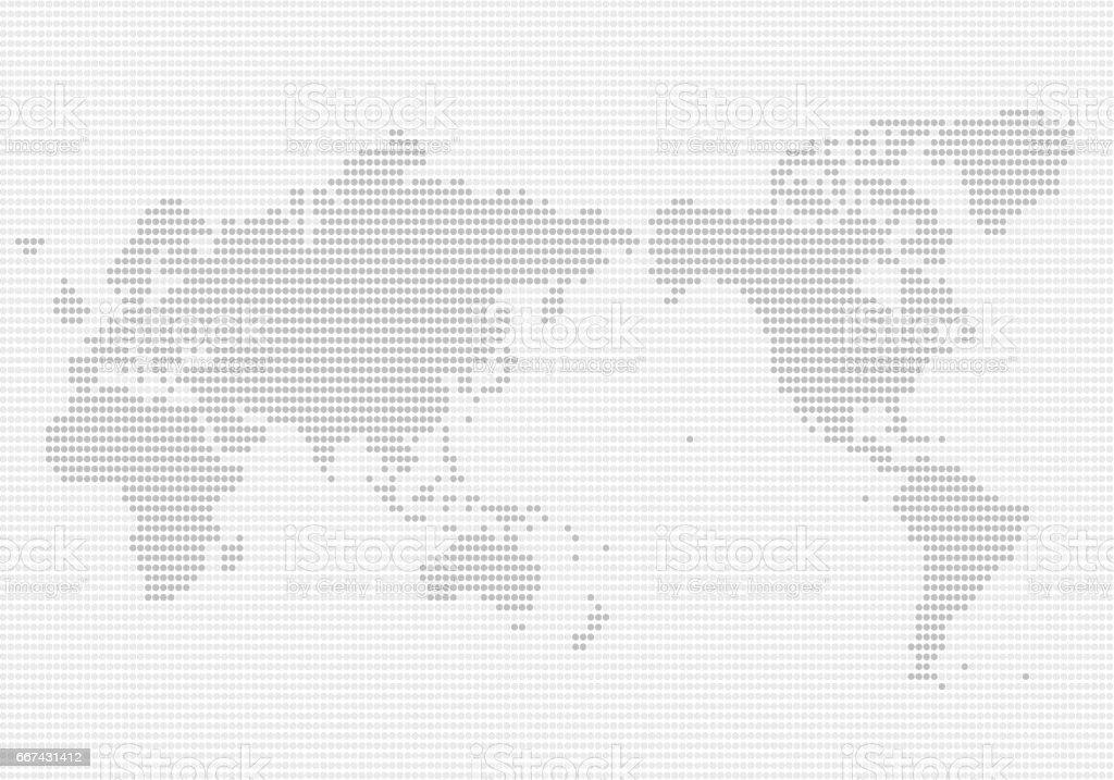 ドット パターンの世界地図 ベクターアートイラスト