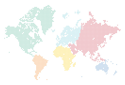 World Map of Dots Split Into Continents