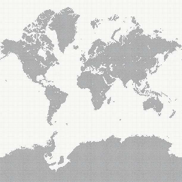 ilustraciones, imágenes clip art, dibujos animados e iconos de stock de world map of dots - mapa de antártida