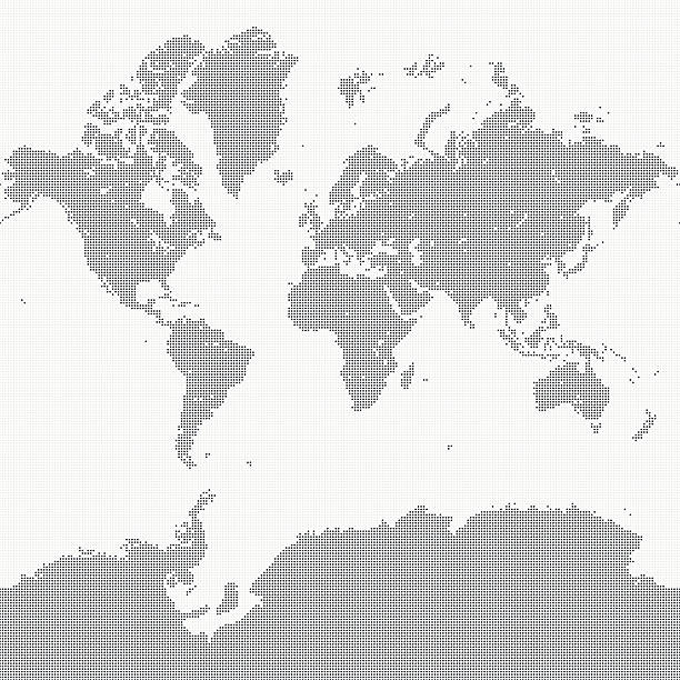 world map of dots - antarctica maps stock illustrations, clip art, cartoons, & icons