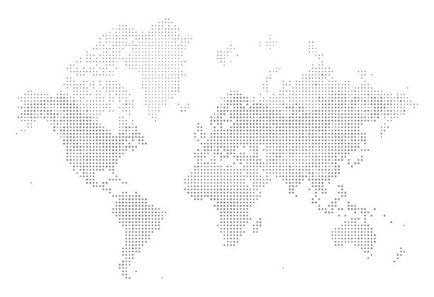 world map of dots - weltkarte stock-grafiken, -clipart, -cartoons und -symbole